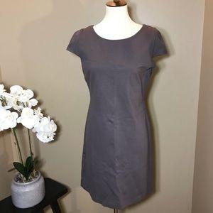 Boston Proper Gray Sheath Dress Rose Gold Zipper